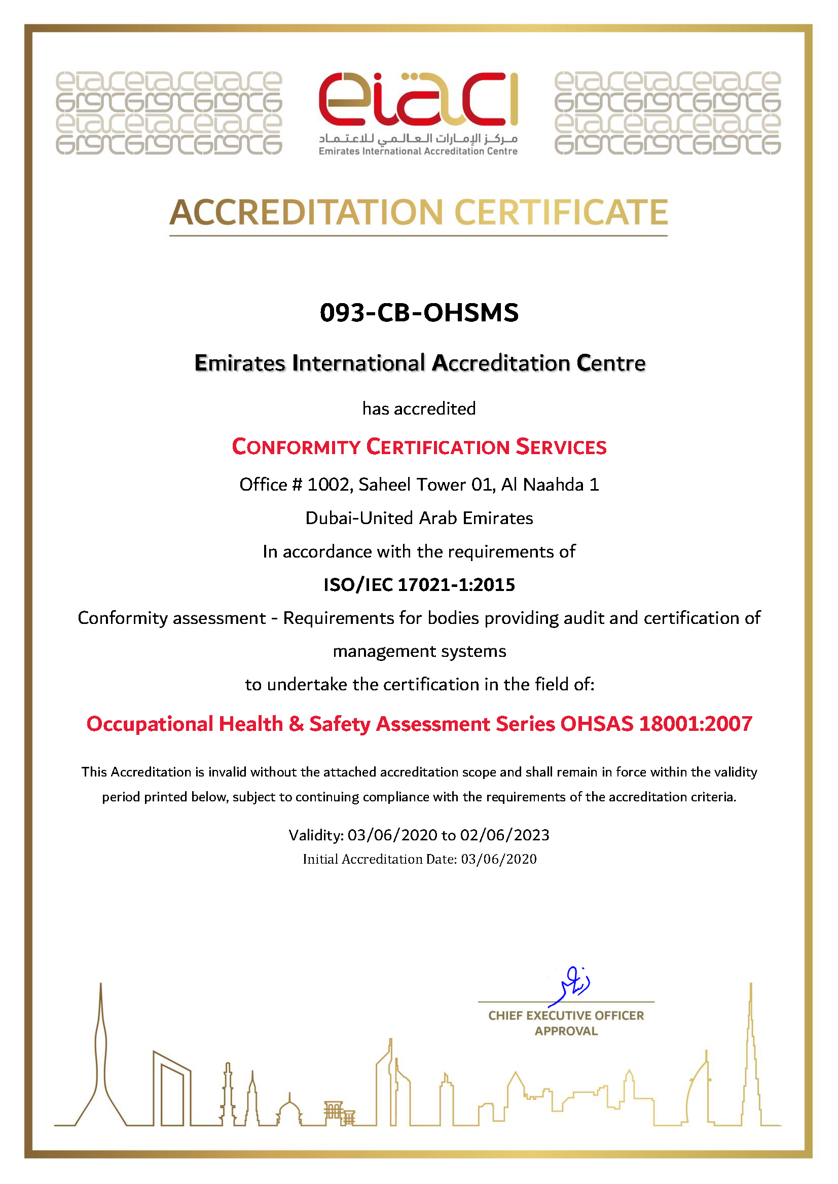 Conformity Certification Services CB OHSMS 093 Page 1